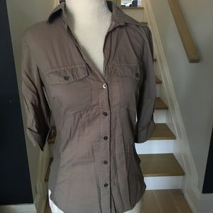 James Perse Button Down 3/4 Sleeve